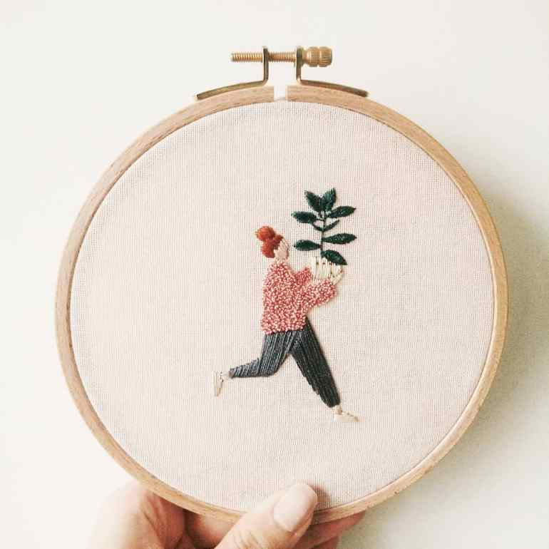 Minimalist Plant Lady Embroidery