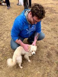 John with a stray dog.