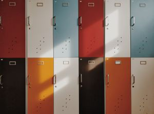 A hall filled with Colorful lockers
